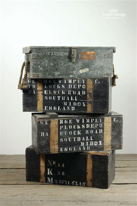 vintage wooden storage boxes