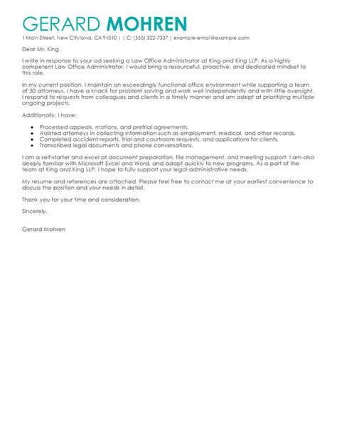 San Administration Cover Letter by Best Office Administrator Cover Letter Exles Livecareer