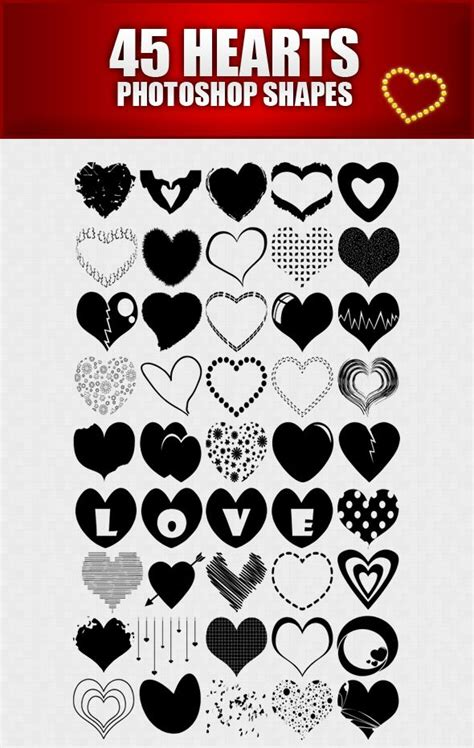 shape pattern brushes photoshop hearts shapes for photoshop by sarthony deviantart com on