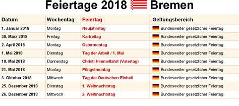 Kalender 2018 Zum Ausdrucken Bremen Kalender 2018 Bremen Ausdrucken Ferien Feiertage
