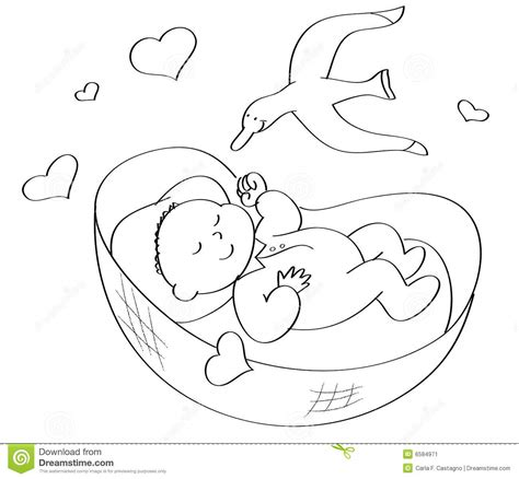 coloring page baby sleeping coloring baby sleeping stock vector illustration of love