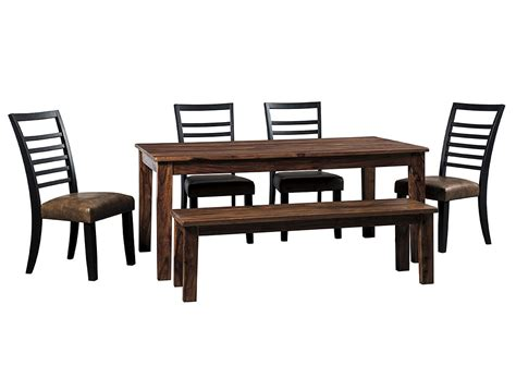 dining table with bench and 4 chairs ny furniture direct freeport ny manishore brown