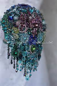 cascade peacock wedding brooch bouquet quot glamour peacock quot teal emerald royal blue cascading