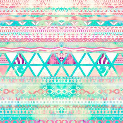Girly Aztec pink teal aztec pattern triangles girly watercolor