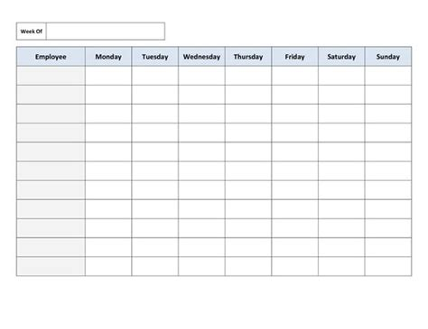 Free Printable Work Schedule Template Mondays Portrait And Chang E 3 On Pinterest