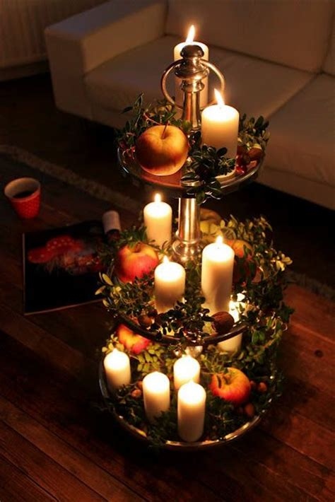 etagere weihnachtsdeko candles on a decorative tray christmassy things