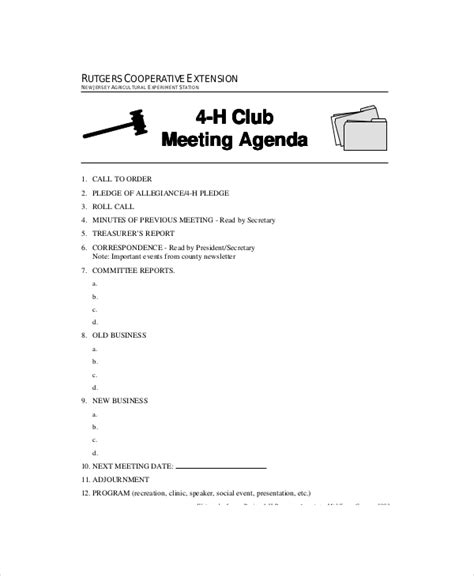 Club Meeting Agenda Template 7 Free Word Pdf Documents Download Free Premium Templates Booster Club Minutes Template