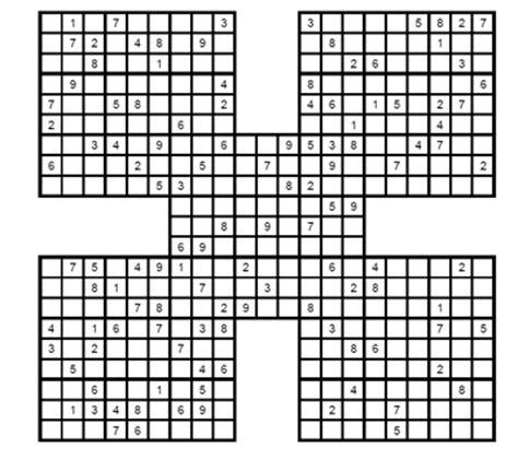 samurai sudokus para imprimir grtis sudoku samurai experto para imprimir 3 sudoku gratis para