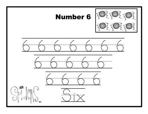 printable tracing number 6 bats spiders number cards preschool printables