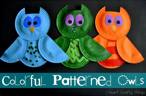 Owl Paper Plate Craft - colorful patterned owls i crafty things