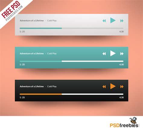 design html audio player media player application flat design free psd