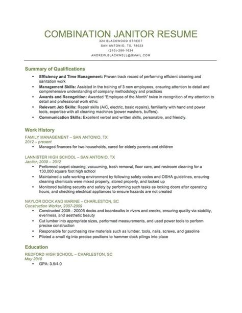 Janitorial Resume Templates by Custodian Resume Template Resume Builder