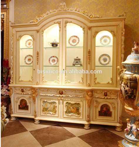 luxurious wooden carving showcase cabinet using clear french rococo style wood carved double door corner display