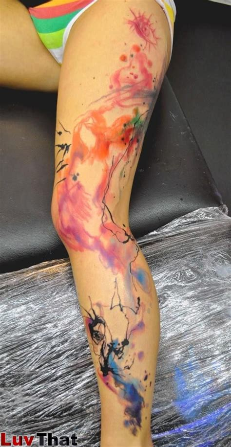 watercolor tattoos pros and cons abstract watercolor large leg