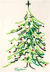 Christmas tree abstract oil pastel drawing by carol engles original