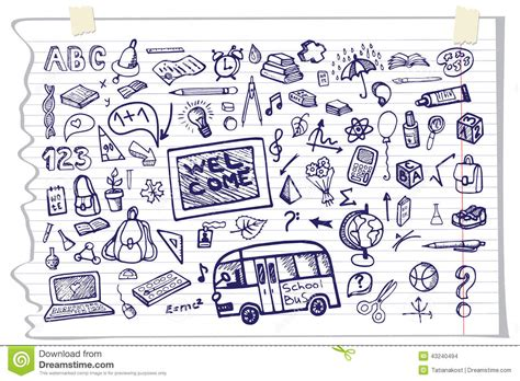 illustration layout composition back to school supplies sketchy notebook doodles stock