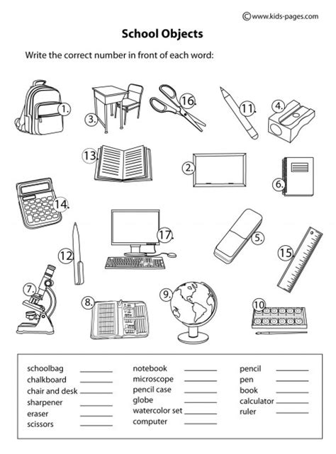 School Home Worksheets by School Objects Matching B W Worksheet