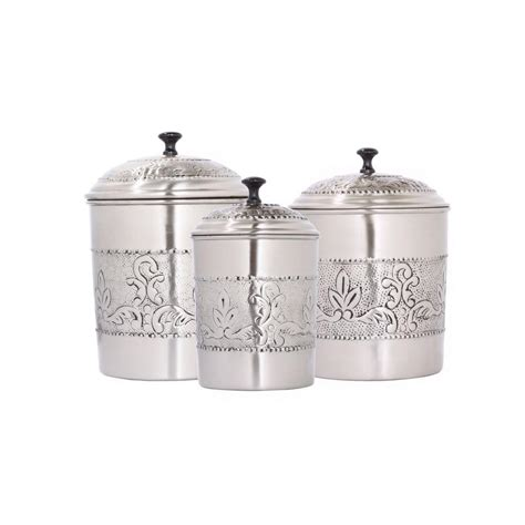 antique canisters kitchen antique embossed canister set 3 411 the home depot