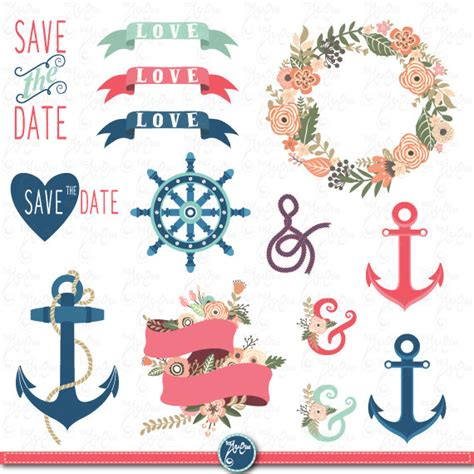 Nautical Wedding Clipart by Wedding Clipart Pack Quot Wedding Flora Nautical Quot Clip