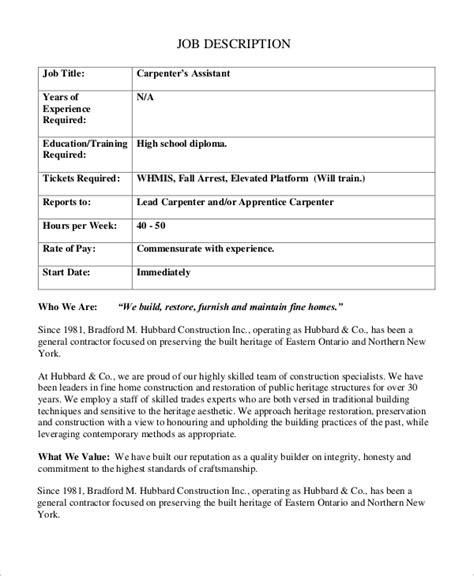 duties of a carpenter sle deputy master carpenter