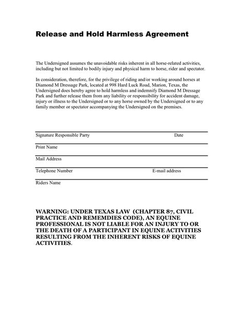 waiver of liability and hold harmless agreement template release and hold harmless agreement in word and pdf formats