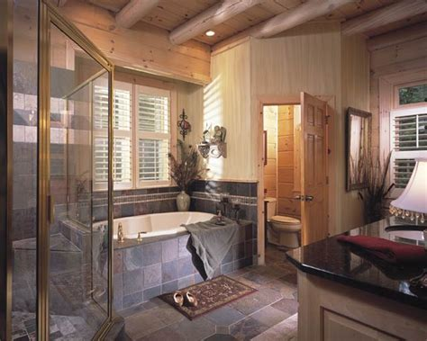 log cabin with bathroom and kitchen share