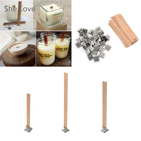 how to make a candle wick 50 pcs wooden wick candle core sustainers tab diy candle