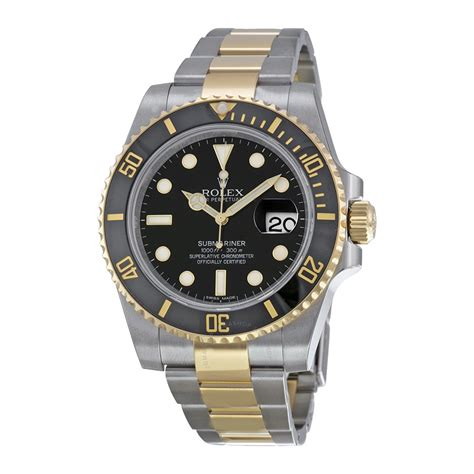 rolex submariner black stainless steel and 18k yellow