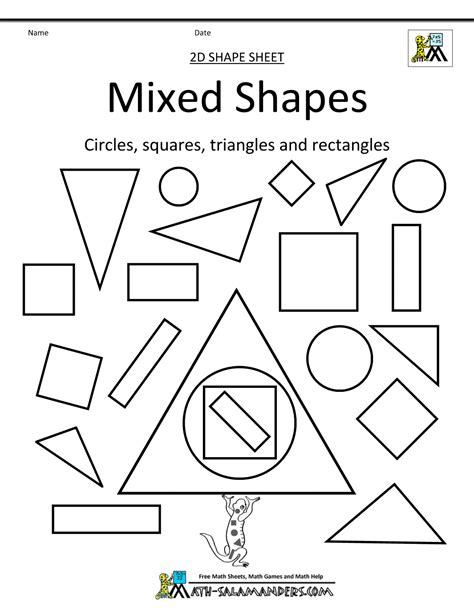 2d printable coloured shapes sorting 2d shapes worksheet for kindergarten two