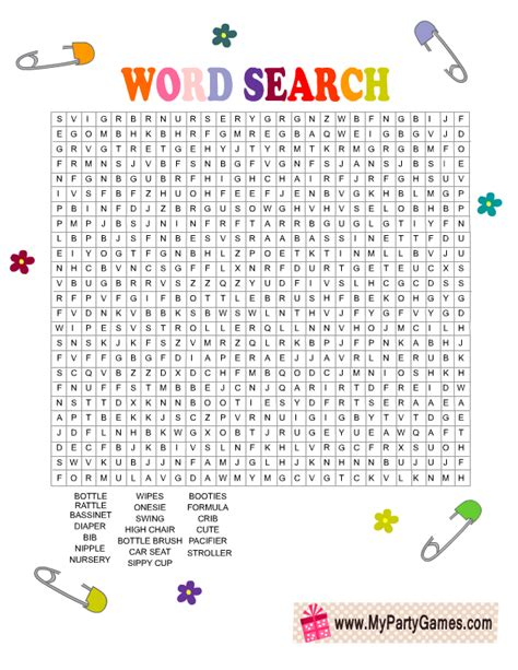 Baby Shower Word Searches by Free Printable Baby Shower Word Search