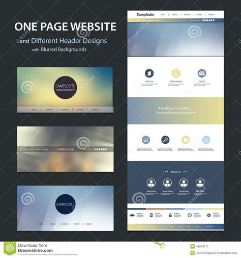 One Page Website Template And Different Header Designs With Blurred Backgrounds Stock Vector Ux Website Templates