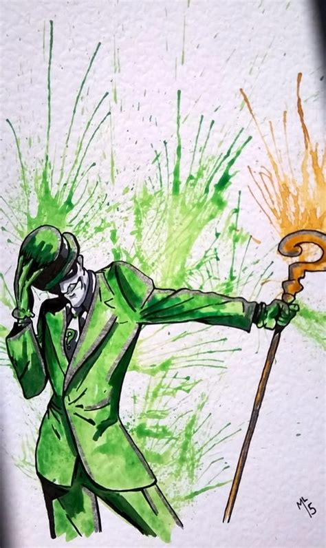 watercolor tattoo artists dc the riddler batman dc original comic watercolor