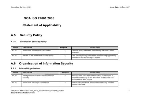 Statement Of Applicability Doc Iso 27001 2013 Statement Of Applicability Template