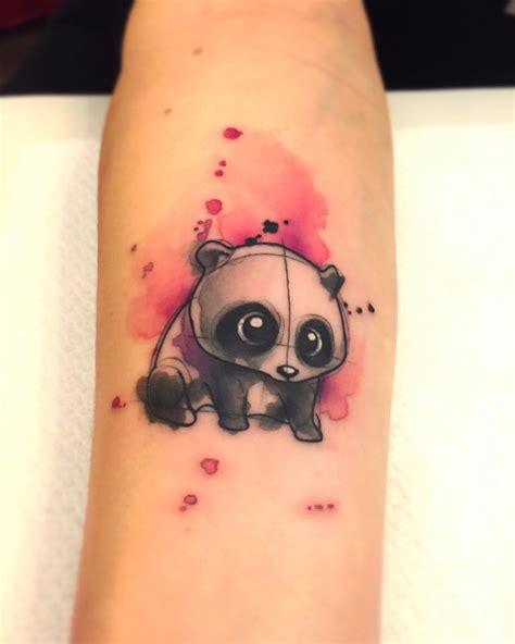 tattoo de panda feminina oso panda estilo acuarelas por bor 224 tattoo studio