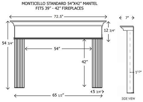standard fireplace size 54x42monticello jpg