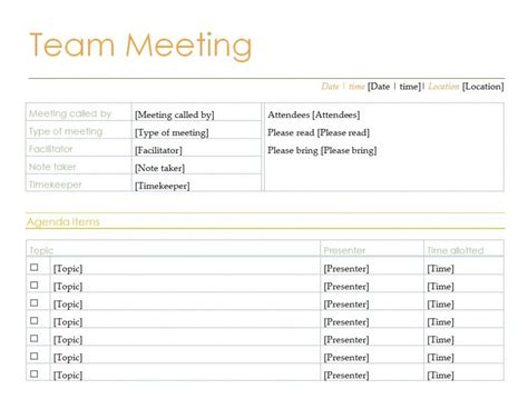 excel templates for meeting agenda team meeting agenda team meeting agenda template