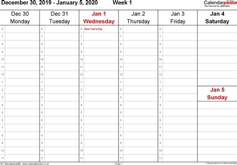 weekly calendar  uk  printable templates  excel