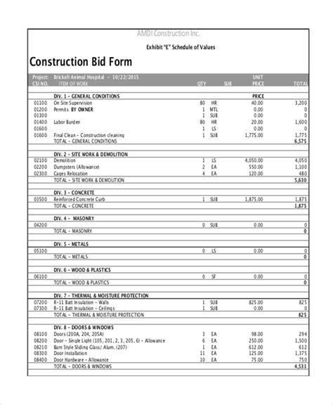 construction cost breakdown sheet cost estimating