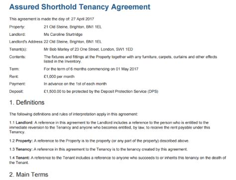 free shorthold tenancy agreement template uk free tenancy agreement to edit sign and print