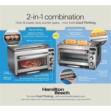 2 In 1 Toaster hamilton 2 in 1 oven and toaster 31156