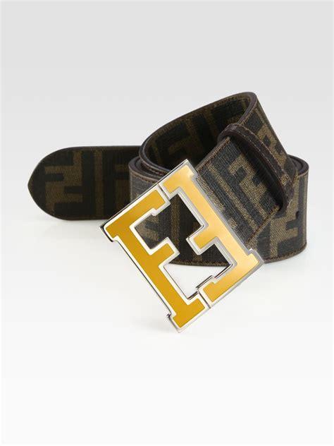 Fendi Nicky With B Fendi Canvas Metallic Trim Medium Bag by Fendi Logo College Belt In Black For Lyst