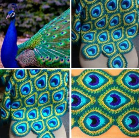 Square Motif Feather peacock crochet blanket pattern free tutorial