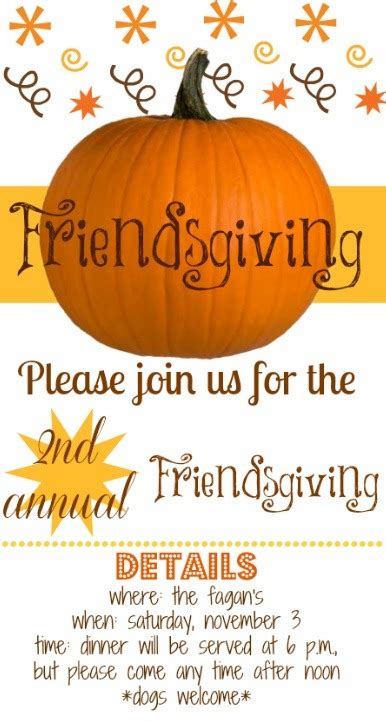 Friendsgiving Invitation Peanut Butter Fingers Friendsgiving Invitation Free Template