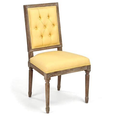 pair louis xvi yellow tufted linen dining side chair