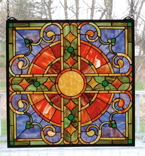 stained glass window meyda 98084 cross stained glass window