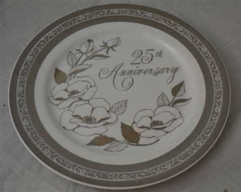 25th Wedding Anniversary Plate Roses Silver Trim   eBay