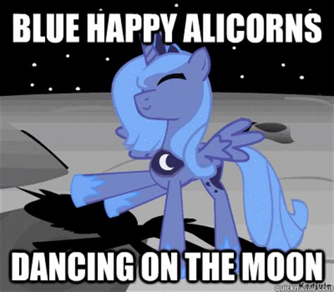 Meme Luna - blue happy alicorns dancing on the moon