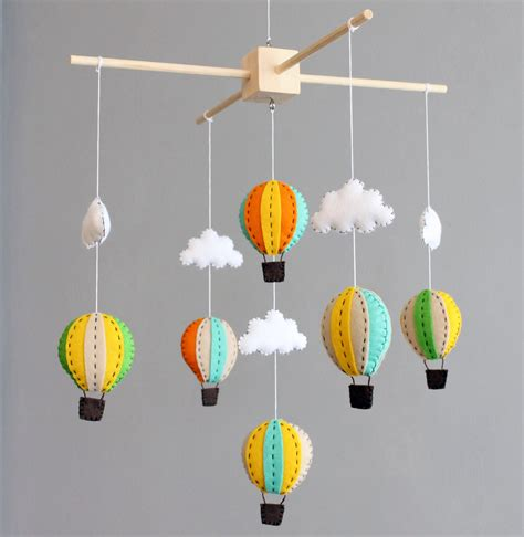 Baby Mobile For Crib Baby Mobile Green Orange And Yellow Wooden Air Balloon Crib Cot Mobile By Buttonfaceco On