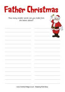 father christmas how many words puzzle