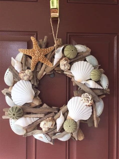 seashell decorations home seashell starfish driftwood wreath beach shell wreath
